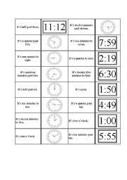 printable clock dominoes english teaching worksheets the clock