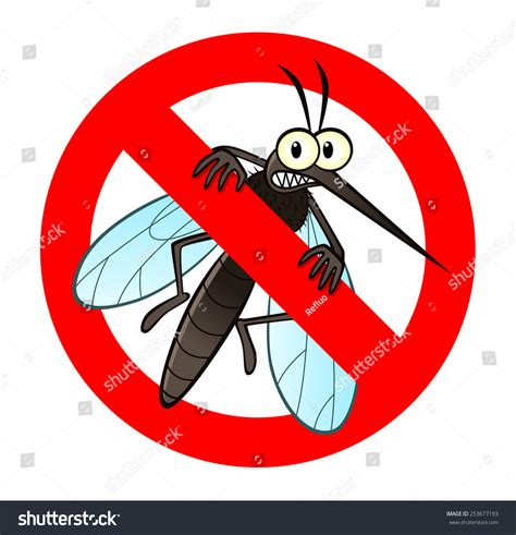 anti mosquito sign funny cartoon mosquito stock vector 253677193 shutterstock