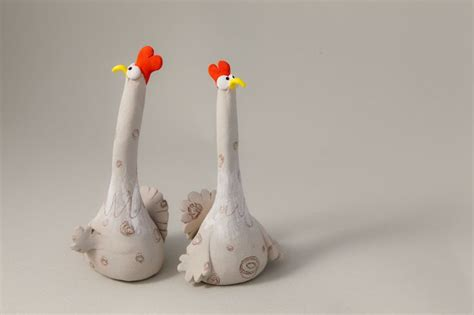 Handmade Clay Sculptures - stoneware sculpture quot two suspicious chickens quot handmade