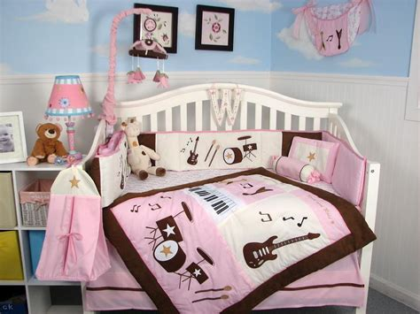 Brown Baby Crib Bedding Soho Pink And Brown Rock Band Baby Crib Bedding Set 13 Pcs Included Bag Ebay