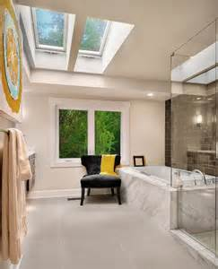 window on ceiling six stunning uses of skylights in bathrooms