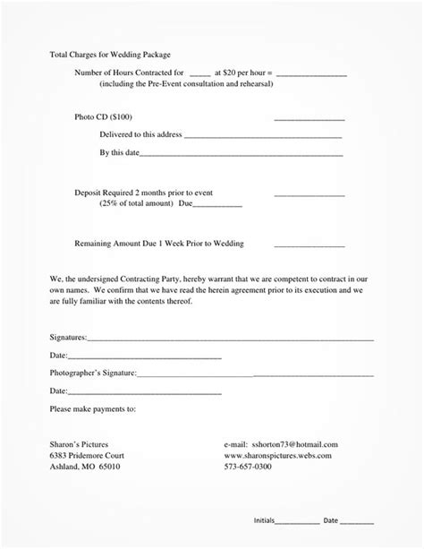 photography service agreement template 5 free wedding photography contract templates
