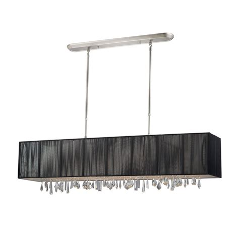 Brushed Nickel Kitchen Island Lighting Shop Z Lite Casia 48 In W 5 Light Brushed Nickel Kitchen Island Light With Black Fabric Shade At