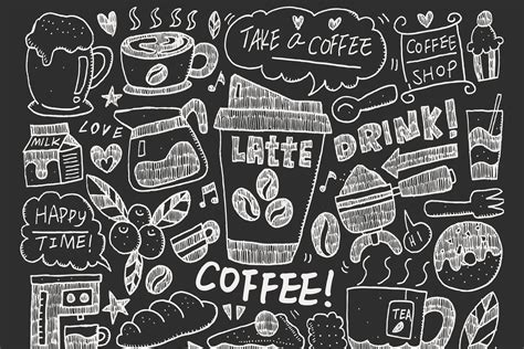 create a doodle drawing wallpapers coffee doodle wallpaper for cafe decor