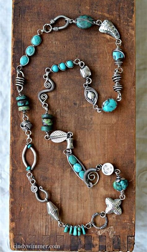Handmade Silver Jewelry Designers - handmade turquoise and sterling silver wire link necklace