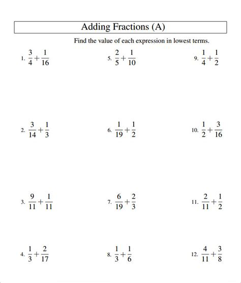 adding fractions card template 23 sle adding fractions worksheet templates free pdf