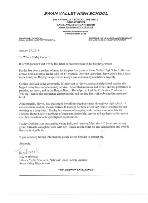 Recommendation Letter Sle For High School Student From High School Letter Of Recommendation Template 28 Images College Recommendation Letter For