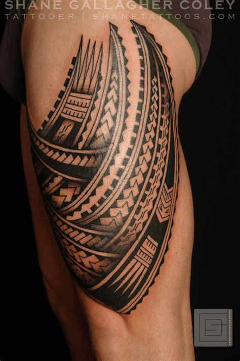 polynesian tribal leg tattoos shane tattoos polynesian thigh tatau