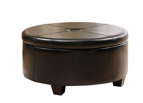 Large Black Round Storage Ottoman Faux Leather Tufted Tufted Storage Ottoman Coffee Table