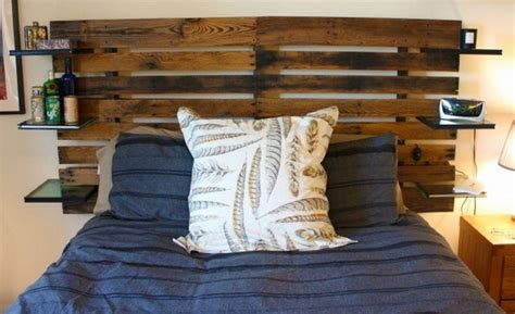 headboard made out of pallets recycled pallet headboard with shelves pallet wood projects