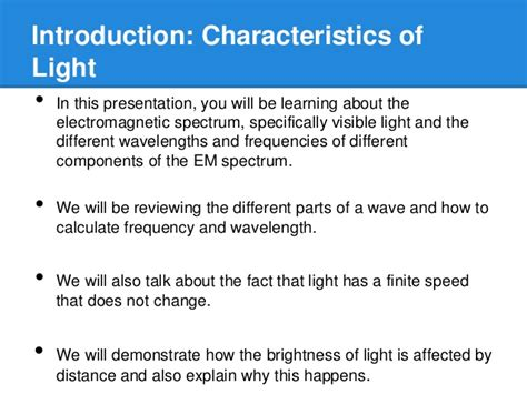 characteristics of light