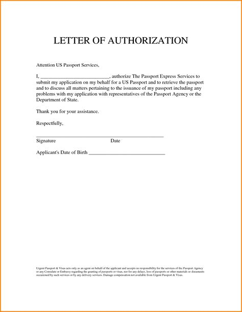 Authorization Letter For Us Visa Delivery Authorization Letter Behalf Authorization Letter Pdf