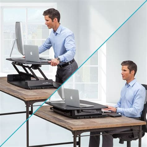 desktop adjustable standing desk varidesk pro 36 height adjustable black
