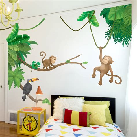 childrens wall decor stickers jungle monkey children s wall sticker set by oakdene