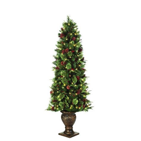 home accents 6 5 ft pre lit potted artificial tree ty78 797 200lr the home