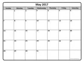 Printable Calendar Template by May 2017 Calendar Template May 2017 Printable Calendar