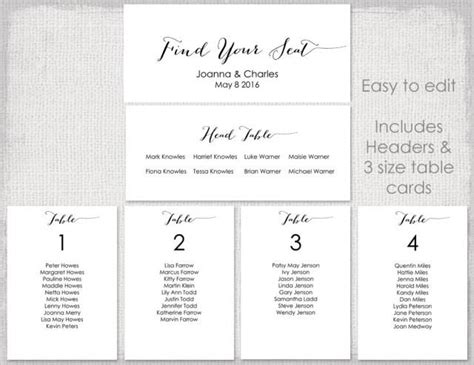 seating chart cards template free wedding seating chart template black quot bombshell quot diy