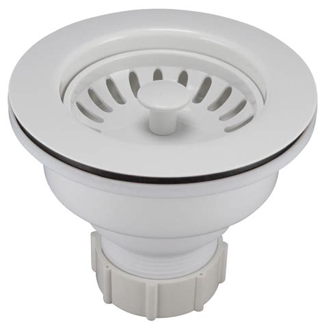 kitchen sink basket strainer shop keeney 3 5 in white plastic kitchen sink strainer basket at lowes