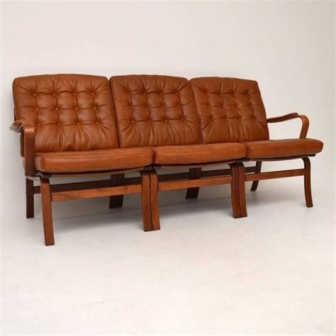 Danish Retro Leather Bentwood Sofa Vintage 1970s At 1stdibs Leather Retro Sofa