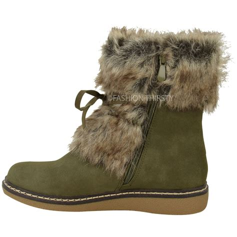 womens faux fur boots womens flat low wedge faux fur winter ankle boots