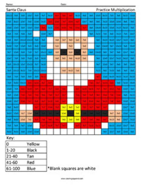santa math coloring pages santa claus holiday multiplication coloring squared