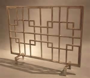 dessau home antique silver squares iron fireplace screen screen