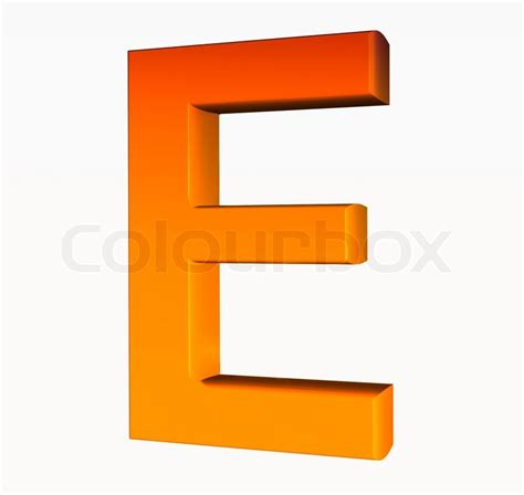 si鑒e social d orange orange alphabet letter e 3d isolated on white stock