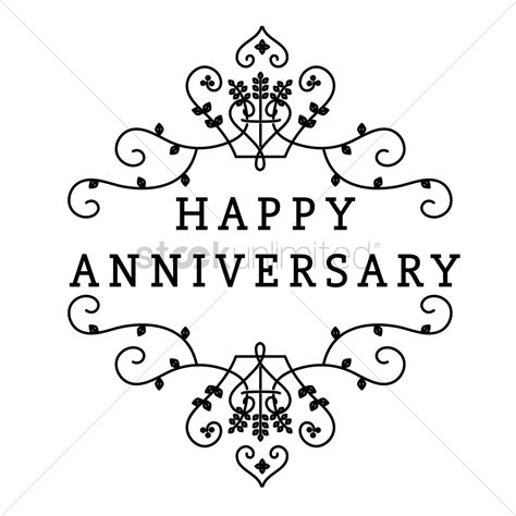 black and white printable anniversary cards happy anniversary greeting text vector image 1524971