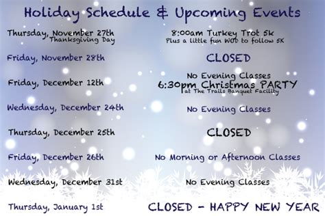 holiday schedule upcoming events crossfit uncommon