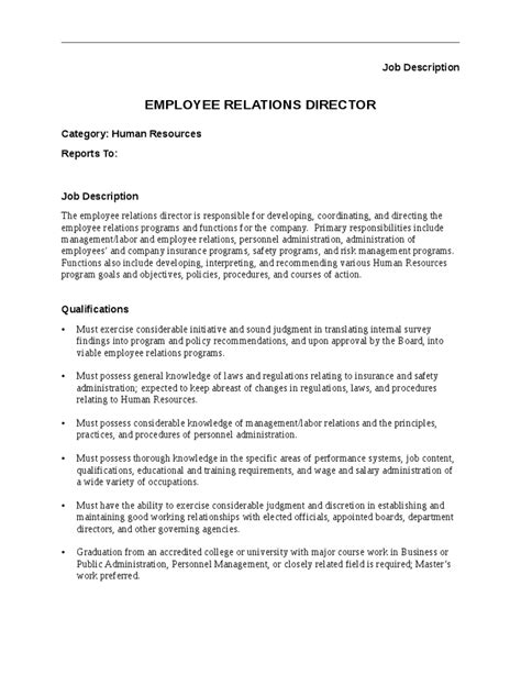 Relations Duties by Best Photos Of Employee Description Sle Resume Employee Relations Director