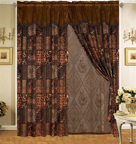 safari curtains safari brown fur curtain set ebay