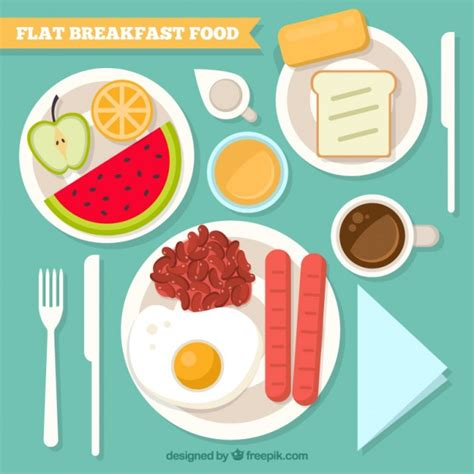 food on the table delicious breakfast food on the table vector free download