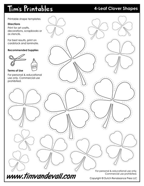 of clovers card template 4 leaf clover templates