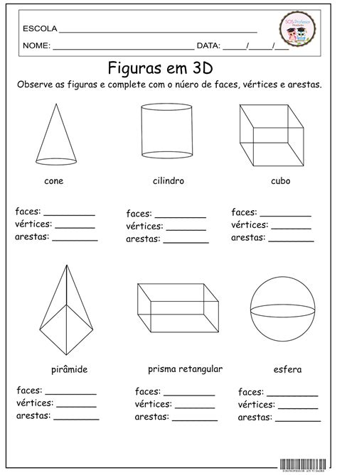 figuras geometricas atividades 4o ano sosprofessor atividades figuras em 3d