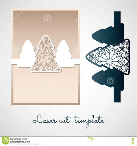 laser printable greeting cards openwork paper decor with christmas trees laser cutting