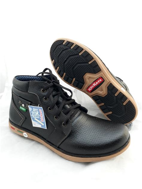 Sepatu Boot Safety Kasual Pria Kulit Hitam Raindoz Rli 033 Murah Ori jual sepatu boot pria kulit asli kickers touring casual