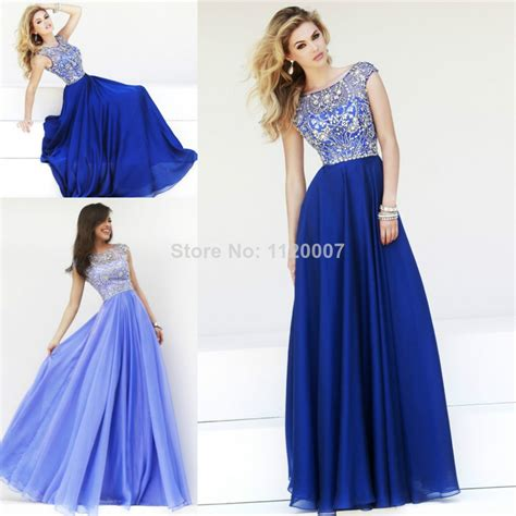 Royal Blue Lilac Modest Long Prom Dresses 2014 Cap Sleeves Chiffon Luxury Beaded Crystals Sexy