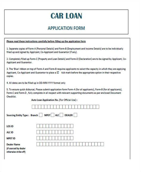 Agreement Form Exles Auto Loan Document Template
