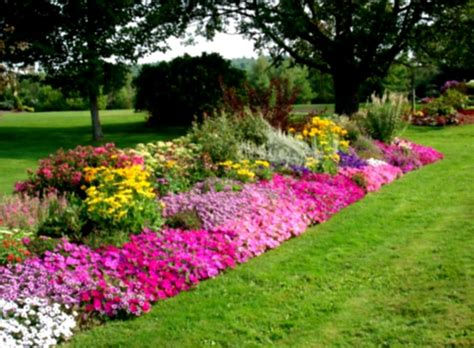 Home Garden Landscaping Ideas Flower Garden Landscaping With Green Grass And Colourful