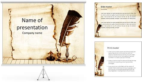 papyrus template feather and papyrus powerpoint template backgrounds id