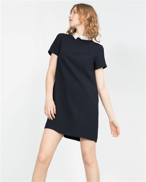 Wst 14632 Blue Collar Dress zara dress with contrasting collar in blue lyst