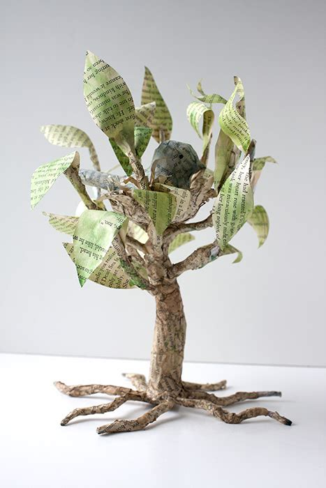 A Paper Tree - crafty challenge 7 paper mache tree with nesting bird