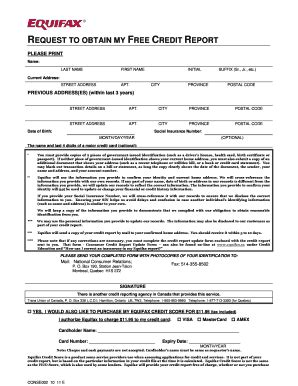 Credit Report Form Equifax Blank Credit Report Form Fill Printable Fillable Blank Pdffiller
