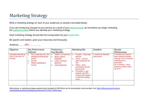 marketing strategy template 28 images a marketing plan