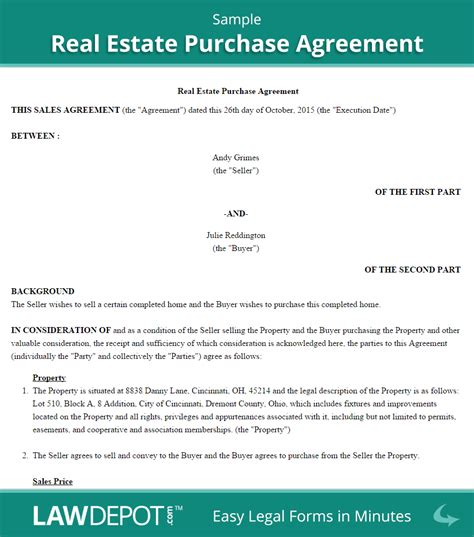 Real Estate Purchase Agreement United States Form Lawdepot Home Buyout Agreement Template