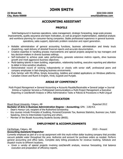 Accounting Resume by 1000 Images About Best Accounting Resume Templates Sles On Entry Level