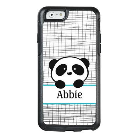 aqua black panda personalized animal otterbox