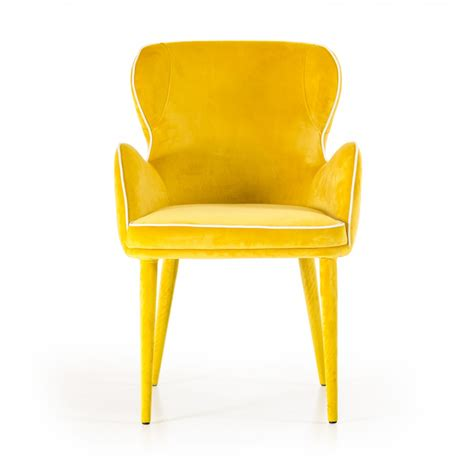 Yellow Fabric Dining Chairs Modrest Tigard Modern Yellow Fabric Dining Chair Dining Chairs Dining