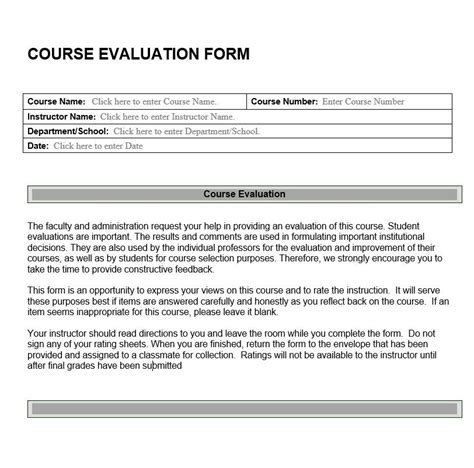 sle course evaluation forms course assessment template 28 images trainer