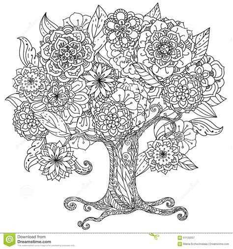 Noir Et Blanc Floral De L Orient De Cercle Illustration De Detailed Tree Coloring Pages